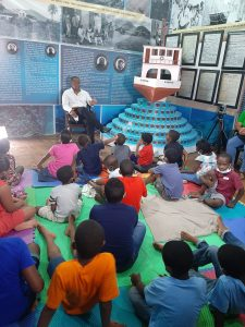 Hon. Mark Brantley, Premier of Nevis, reads the story of the 1970 sinking of the MV Christena during the Heritage House Storytelling Series on August 08, 2020