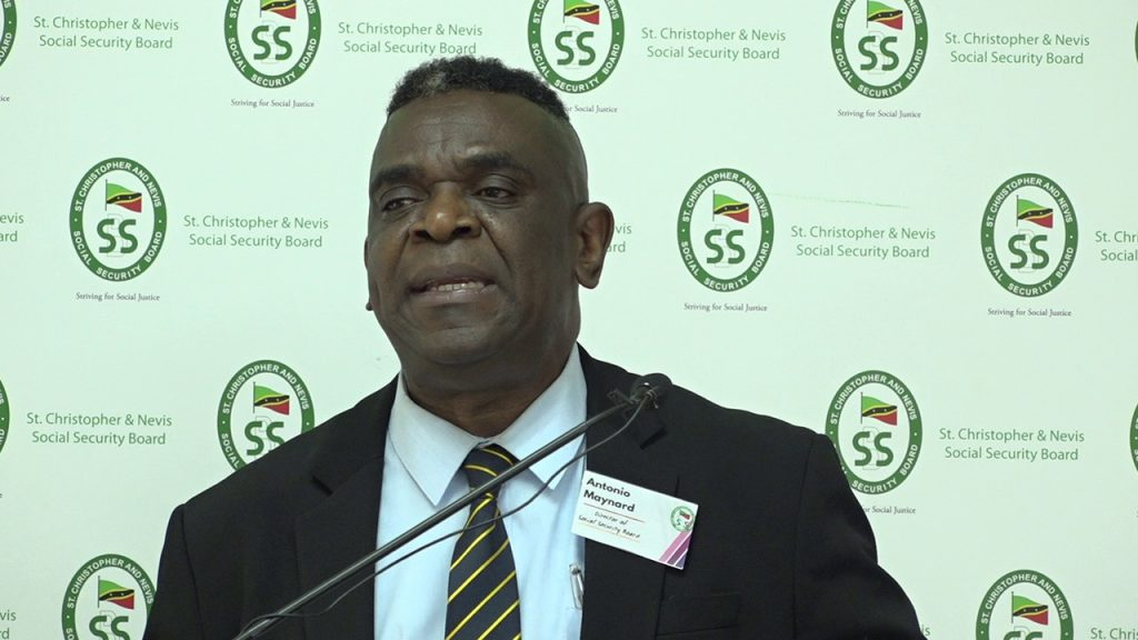 Mr. Antonio Maynard, Director of the St. Christopher & Nevis Social Security Board, delivering remarks at a symposium for self-employed persons at the St. Paul's Anglican Church Hall in Charlestown on August 19, 2020