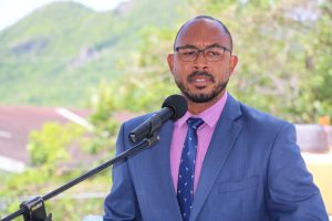 Hon. Jonel Powell, Federal Minister of Education, delivering remarks at the ground breaking ceremony for a state-of-the-art multipurpose technical wing at the Gingerland Secondary School on August 06, 2020, as part of an US$8million St. Kitts and Nevis Technical Vocational Education and Training (TVET) Enhancement Project