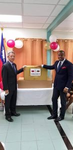 (L-r) His Excellency Tom Lee, Resident Ambassador of the Republic of China (Taiwan) to St. Kitts and Nevis, handing over the medical supplies to Hon. Mark Brantley, Minister of Foreign Affairs and Premier of Nevis, at the J. N. France Hospital in Basseterre on August 31, 2020