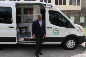 Hon. Premier Mark Brantley, Senior Minister of Health in the Nevis Island Administration at the commissioning ceremony for two new ambulances for the Alexandra Hospital on August 28, 2020