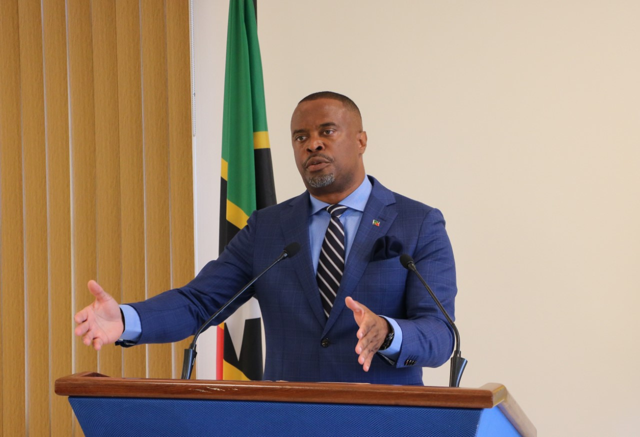 Hon. Mark Brantley, Premier of Nevis and Minister of Finance in the Nevis Island Administration at his monthly press conference on September 22, 2020, in Cabinet Room at Pinney's Estate