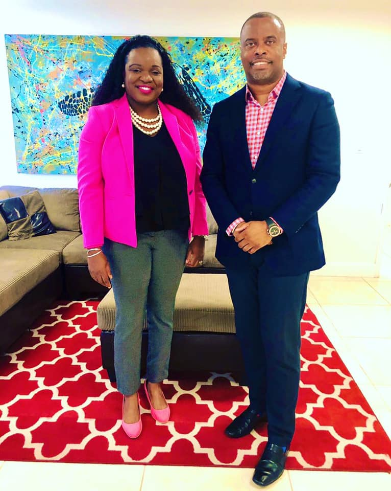 Hon. Cleone Stapleton Simmonds, the only opposition member in the Nevis Island Assembly, and Area Representative for the Parish of St. Thomas, Lowlands, meets for the first time in her official capacity with Hon. Mark Brantley, Premier of Nevis, at his Pinney's Estate office on September 04, 2020