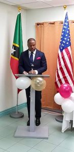 Hon. Mark Brantley, Minister of Foreign Affairs  and Premier of Nevis, speaking at the August 31, 2020 handing over ceremony of equipment and supplies to the Ministry of Health in St. Kitts in the fight against COVID-19