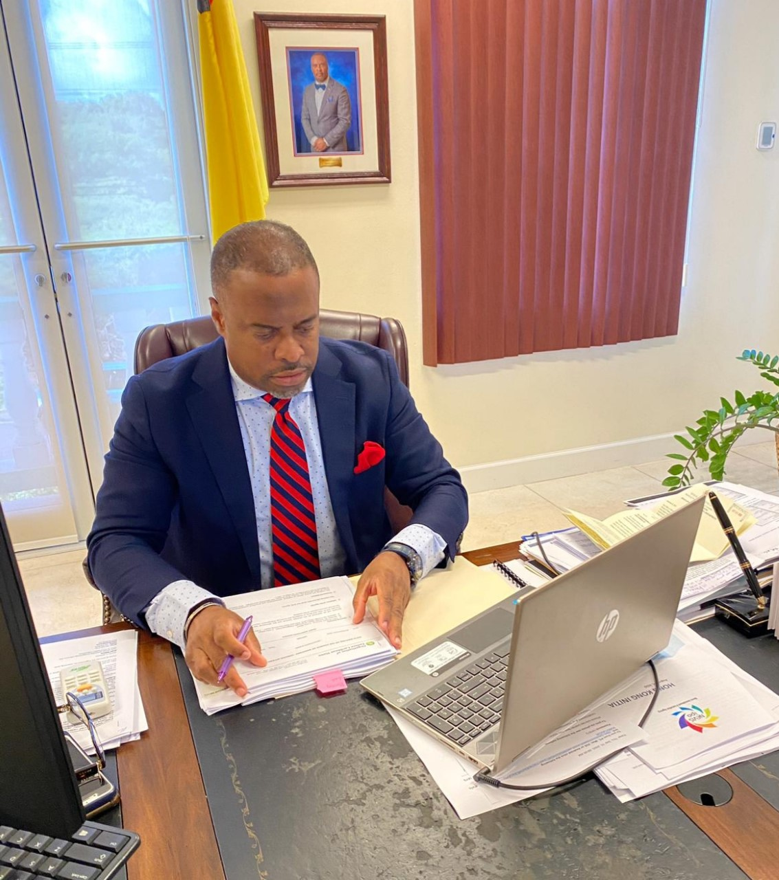 Hon. Mark Brantley, Minister of Foreign Affairs and Premier of Nevis, Chairman of the Sixth Meeting of the Organisation of Eastern Caribbean Council of Ministers Foreign Affairs held virtually on September 10, 2020