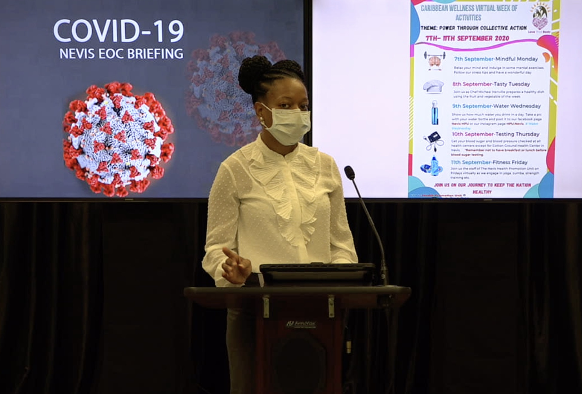 Ms. Shevanee Nisbett, Senior Health Educator at the Nevis Health Promotion Unit making a presentation at the Nevis COVID-19 Emergency Operations Centre Briefing on August 31, 2020