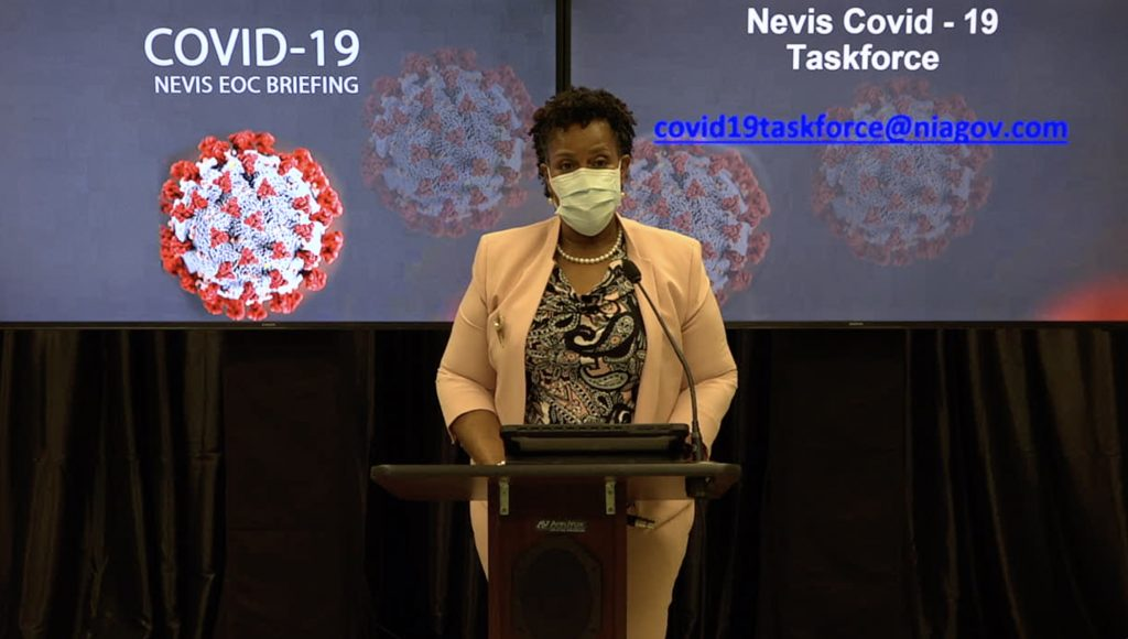 Dr. Judy Nisbett, Chair of the Nevis COVID-19 Task Force making her presentation at the Nevis COVID-19 Emergency Operations Centre Briefing at Long Point on September 28, 2020
