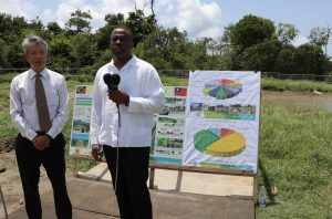 (l-r) Hon. Mark Brantley, Premier of Nevis; and His Excellency Tom Lee, resident Ambassador of the Republic of China (Taiwan) to St. Kitts and Nevis on a tour of the ongoing St. Kitts and Nevis Pinney's Beach Park Project on September 15, 2020