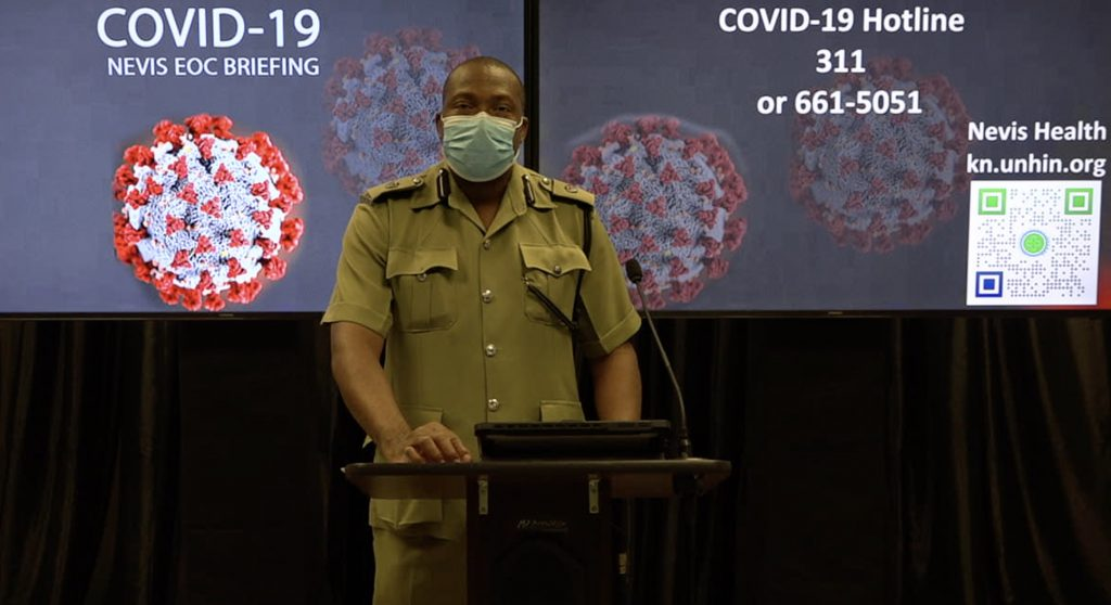 Superintendent Lyndon David, Officer-in-charge of the Royal St. Christopher and Nevis Police Force, Nevis Division, making his presentation at the Nevis Emergency Operation Centre Briefing at Long Point on September 07, 2020