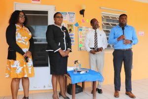 (L-r) Ms. Lisa Lee, Supervisor of the Charlestown Preschool; Ms. Zahnela Claxton, Principal Education Officer in the Department of Education; Hon. Troy Liburd, Junior Minister of Education in the Nevis Island Administration; and Mr. Kevin Barrett, Permanent Secretary in the Ministry of Education giving remarks during a tour of the Farms Estate extension of the Charlestown Preschool on September 07, 2020