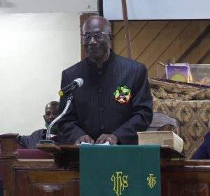 Rev. Franklin Manners the new Superintendent Minister of the Methodist Church, Nevis Circuit during a special service on September 13, 2020, at the church