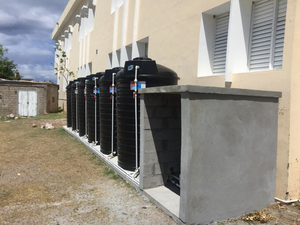 Six water tanks recently installed at the Charlestown Secondary School as part of a US$200,000 climate change adaptation project in St. Kitts and Nevis, funded by the United States Agency for International Development in collaboration with the Caribbean Community Climate Change Centre