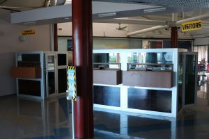 Enhanced counters for Immigration at the Arrival Hall at the Vance W. Amory International Airport in Nevis