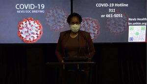 Dr. Judy Nisbett, Chair of the Nevis COVID-19 Task Force, making her presentation at the Nevis COVID-19 Emergency Operations Centre Briefing on October 05, 2020, at Long Point