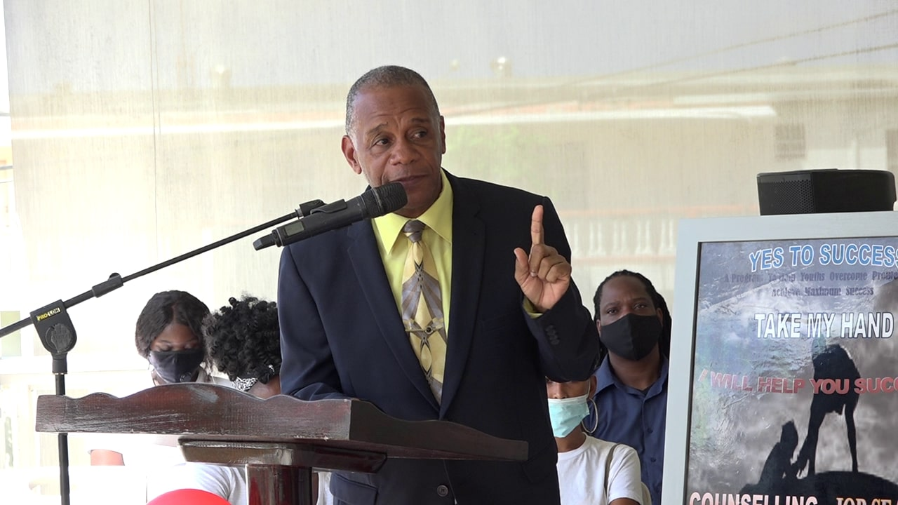 Hon. Eric Evelyn, Minister of Youth and Social Development in the Nevis Island Administration declaring the Yes To Success (YTS) skills training and diversion site in Pinney's Estate open on October 27, 2020