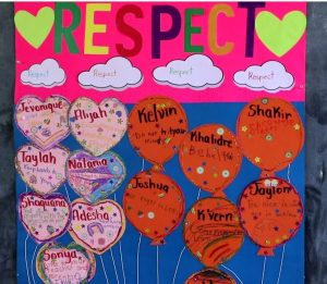 The winning poster from students of Grade 2-2 at the Ivor Walters Primary School on display for the anti-bullying Virtues Project on October 09, 2020