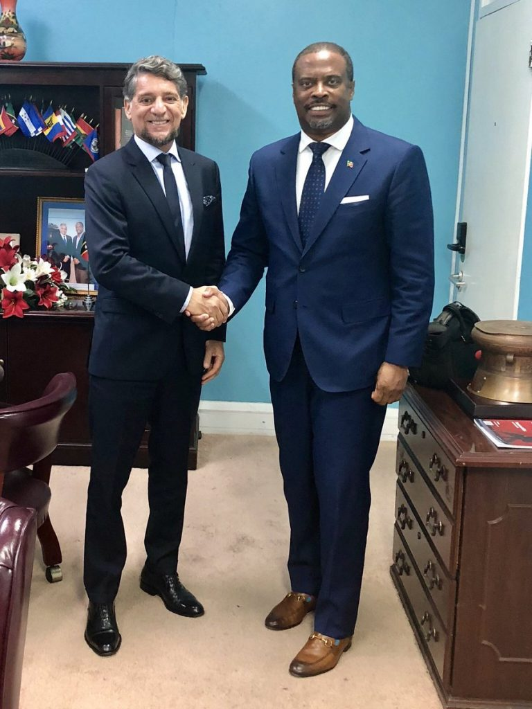 (l-r) His Excellency Gustavo Pandiani, outgoing Ambassador of the Argentine Republic to Barbados and the Organisation of Eastern Caribbean States with Hon. Mark Brantley, Foreign Affairs Minister of St. Kitts and Nevis during a visit to the federation for Independence celebrations in September 2019