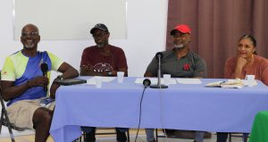 (l-r) Mr. Winston Crooke, Mr. Donford Wilkinson, Mr. David Walwyn, and Ms. Shelagh James, members of the organizing committee for the F.I.T. National Weight Loss Campaign and Nevis Chapter of SKN Moves Annual Bike Relay on November 15, 2020, during a press conference at the Gender Affairs Department conference room in Charlestown on October 26, 2020