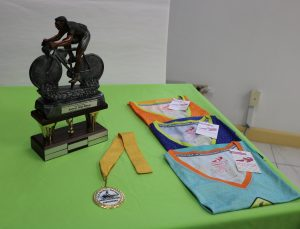 Five-year winners' trophy, participation medals and donated t-shirts for female registrants of the F.I.T. National Weight Loss Campaign and Nevis Chapter of SKN Moves Annual Bike Relay on November 15, 2020, during a press conference at the Gender Affairs Department conference room in Charlestown on October 26, 2020