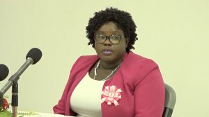 Hon. Hazel Brandy-Williams, Junior Minister of Health and Gender Affairs, delivering remarks at the opening ceremony for the Small Business Boot Camp hosted by the Ministry of Health and Gender Affairs in the Nevis Island Administration at the GMBC Building in Charlestown on October 19, 2020