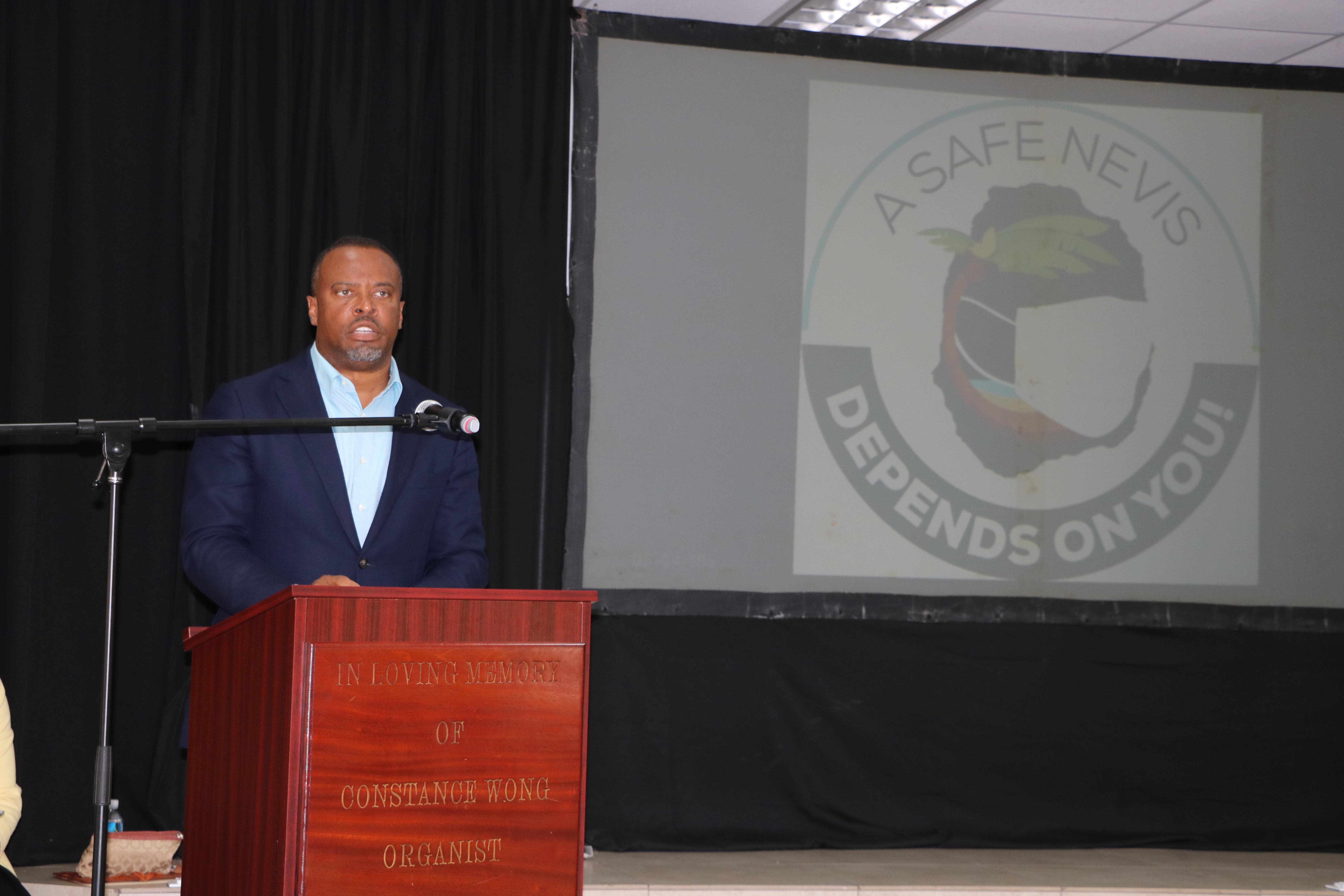 """Hon. Mark Brantley, Premier of Nevis, Minister of Tourism and Minister of Health, delivering remarks at the launch of the joint health/tourism campaign """"Today4Tomorrow"""" at the St. Paul's Anglican Church Hall on October 13, 2020"""