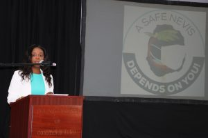 """Ms. Jadine Yarde, Chief Executive Officer of the Nevis Tourism Authority, delivering remarks at the launch of the joint health/tourism campaign """"Today4Tomorrow"""" at the St. Paul's Anglican Church Hall on October 13, 2020"""