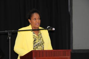 "Dr. Judy Nisbett, Medical Officer in the Ministry of Health and Chair of the Nevis COVID-19 Task Force, delivering remarks on behalf of Junior Minister of Health Hon. Hazel Brandy-Williams at the launch of the joint health/tourism campaign ""Today4Tomorrow"" at the St. Paul's Anglican Church Hall on October 13, 2020"