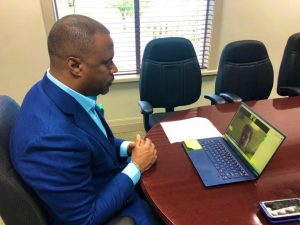 Hon. Mark Brantley, Minister of Foreign Affairs for St. Kitts and Nevis, conducts virtual meeting with Her Excellency Janet Douglas CMG, United Kingdom High Commissioner to Barbados and the Organisation of Eastern Caribbean States on October 20, 2020