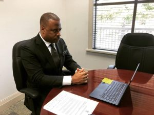 Hon. Mark Brantley, Minister of Foreign Affairs in St. Kitts and Nevis, during a virtual meeting with Her Excellency Vera Lucia dos Santos Caminha Campetti, Brazil Ambassador-designate to St. Kitts and Nevis on October 22, 2020