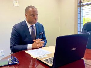 Hon. Mark Brantley, Minister of Foreign Affairs for St. Kitts and Nevis, during a virtual meeting with His Excellency Inho Lee Ambassador-designate of South Korea to St. Kitts and Nevis on October 22, 2020