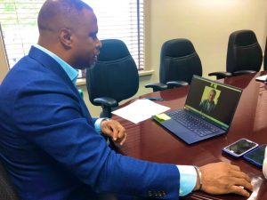 Hon. Mark Brantley, Foreign Affairs Minister of St. Kitts and Nevis engaging His Excellency Gustavo Pandiani, outgoing Ambassador of the Argentine Republic to Barbados and the Organisation of Eastern Caribbean States during a virtual meeting on October 20, 2020