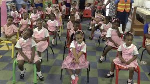 Students at the Gingerland Preschool on October 09, 2020