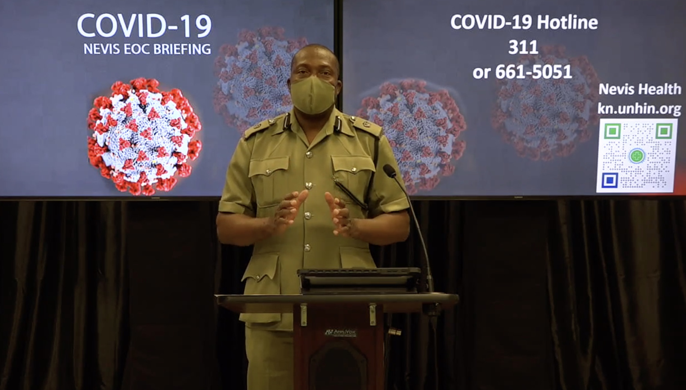 Superintendent Lyndon David, Divisional Commander of the Nevis Division of the Royal St. Christopher and Nevis Police Force, speaking at the Nevis COVID-19 Emergency Operations Centre Briefing on November 02, 2020