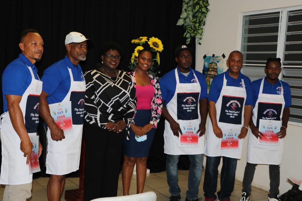 """(l-r) Mr. Nedd Lestrade; Mr. David Walwyn; Hon. Hazel Brandy-Williams, Junior Minister of Health and Gender Affairs in the Nevis Island Administration; Ms. Latoya Jeffers, Assistant Permanent Secretary in the Ministry of Health and Gender Affairs; Mr. Kerwin Polius; Hon. Eric Evelyn, Minister of Community Development; and Mr. Chevaun Walwyn at the launch of the """"Men Can Cook"""" programme at the Charlestown Primary School on November 16, 2020"""