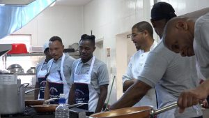 "Chef Michael Henville (third from right) facilitates the first session of the ""Men Can Cook"" programme hosted by the Ministry of Health and Gender Affairs in the Nevis Island Administration at the Charlestown Primary School on November 16, 2020"