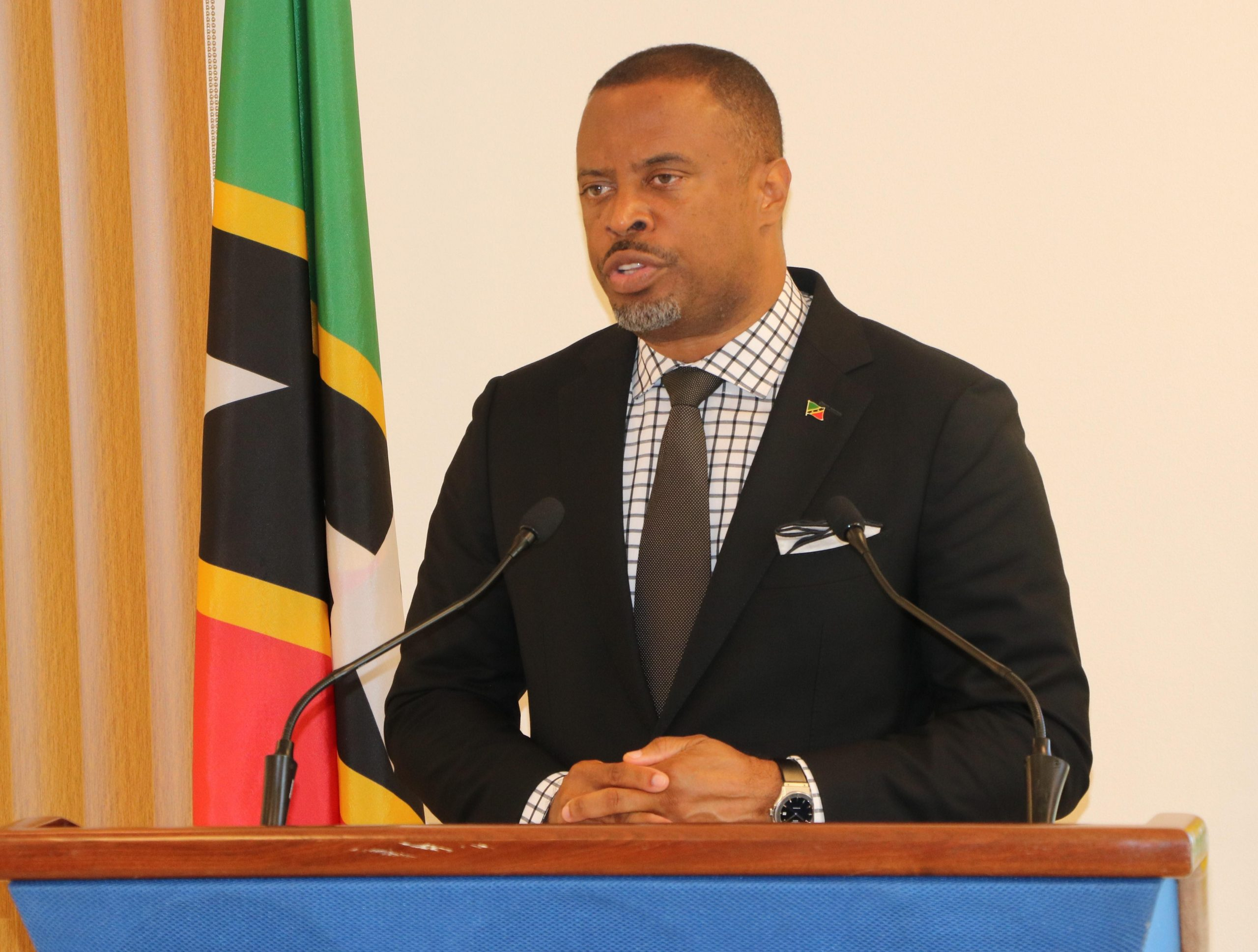 Hon. Mark Brantley, Premier of Nevis and Minister of Energy in the Nevis Island Administration at his monthly press conference in Cabinet Room at Pinney's Estate on November 26, 2020