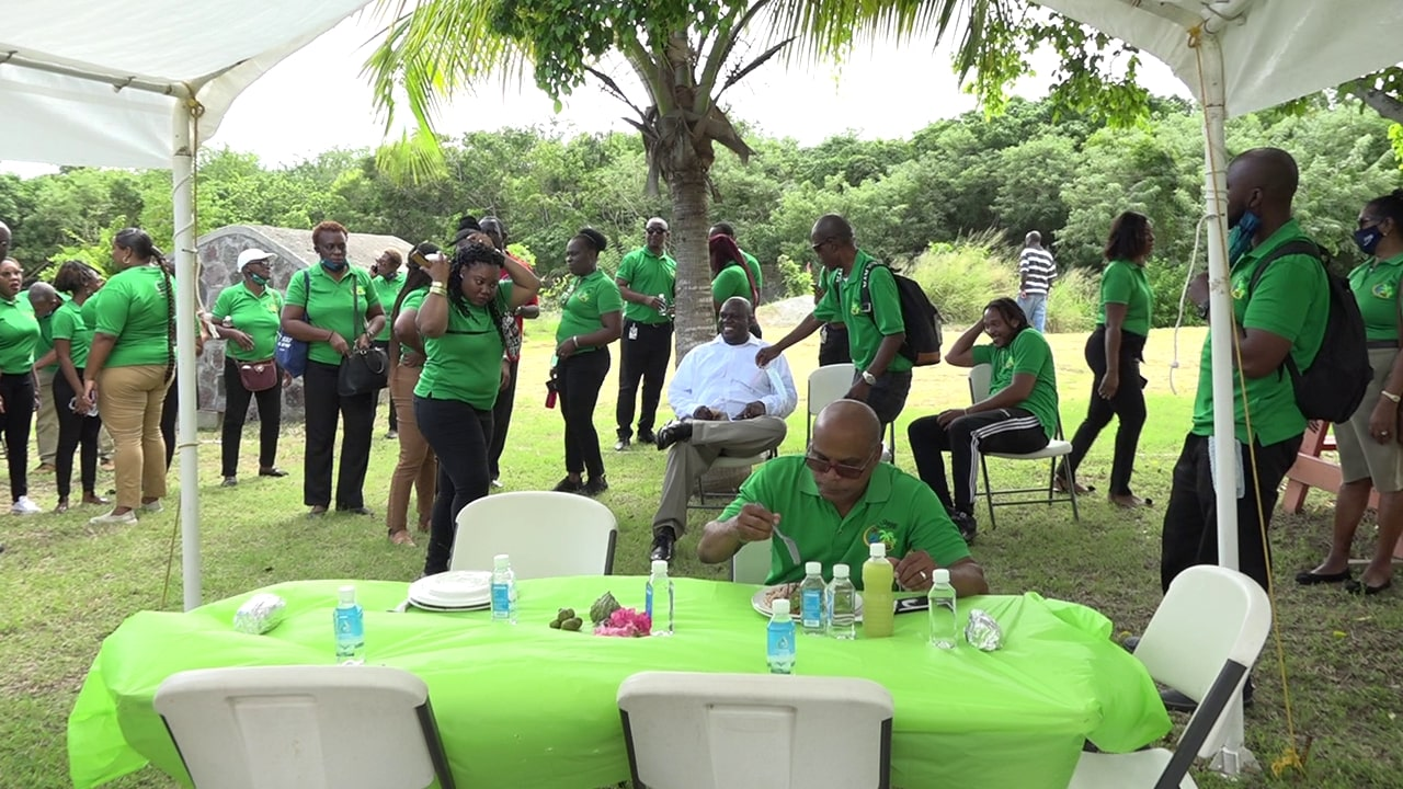 Staff from the Ministry of Tourism on St. Kitts at the Nevisian Heritage Village in Fothergill's Estate, Gingerland during a day trip to Nevis on November 20, 2020, hosted by the Ministry of Tourism on Nevis