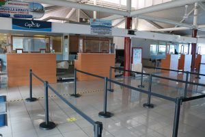 Renovations carried out at the Vance W. Amory International Airport, Nevis in adherence with COVID-19 protocols and requirements, including sneeze guards at all counters and physical distancing markers