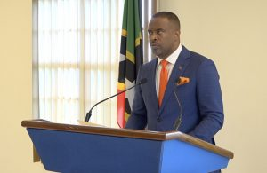 Hon. Mark Brantley, Premier of Nevis and Minister of Health at his recent press conference in Cabinet Room at Pinney's Estate