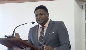 Hon. Troy Liburd Junior Minister of Education in the Nevis Island Administration making his presentation at a sitting of the Nevis Island Assembly in chambers at Hamilton House in Charlestown on November 05, 2020