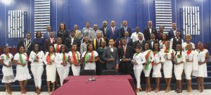 Awardees for the 25 Most Remarkable Teens 2020/2021 with members and staff of the National Assembly at a ceremony held at the Rivers of Living Water Christian Centre at Lime Kiln, Basseterre, on November 26, 2020