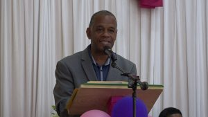 Hon. Eric Evelyn, Minister of Social Development in the Nevis Island Administration, delivering remarks during an October 29, 2020 Senior Citizens Awards Ceremony & Luncheon hosted by the Department of Social Services at the Jessups Community Centre