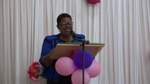 Ms. Joyce Moven, Deputy Director in the Department of Social Services, announcing awardees at an October 29, 2020 Senior Citizens Awards Ceremony & Luncheon hosted by the Department of Social Services at the Jessups Community Centre
