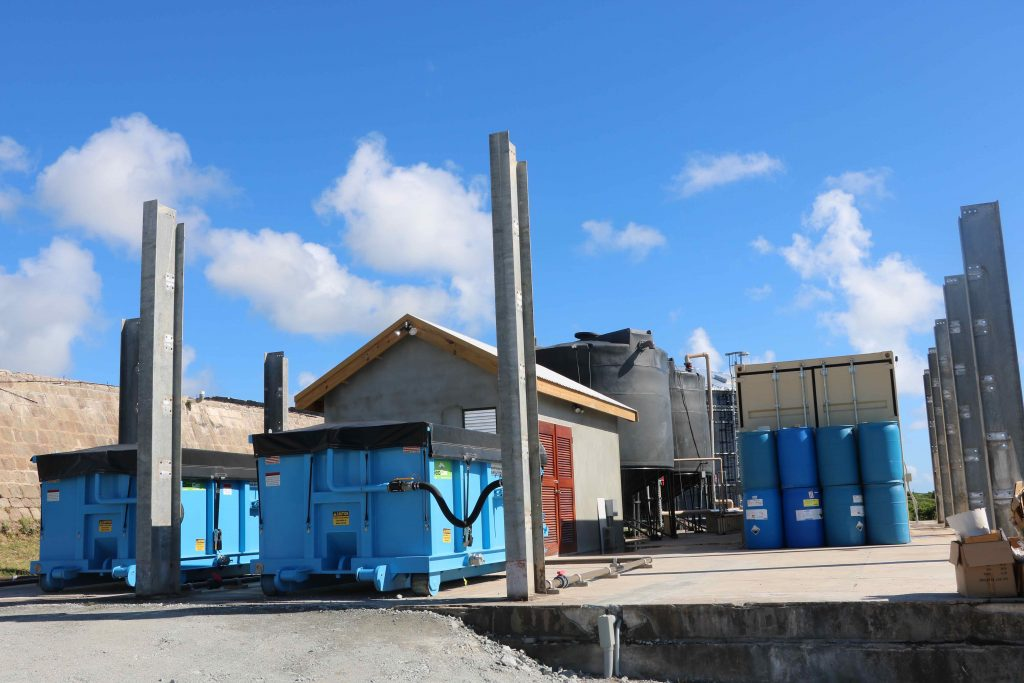 The new containerised state-of-the-art water filtration system at the Nevis Water Department's Hamilton Estate Reservoir site at Hamilton on November 26, 2020