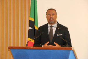 Hon. Mark Brantley, Premier of Nevis at his monthly press conference in Cabinet Room at Pinney's Estate on November 26, 2020