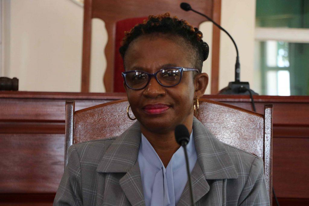 Ms. Myra Williams, Clerk of the Nevis Island Assembly at a sitting of the Nevis Island Assembly (file photo)