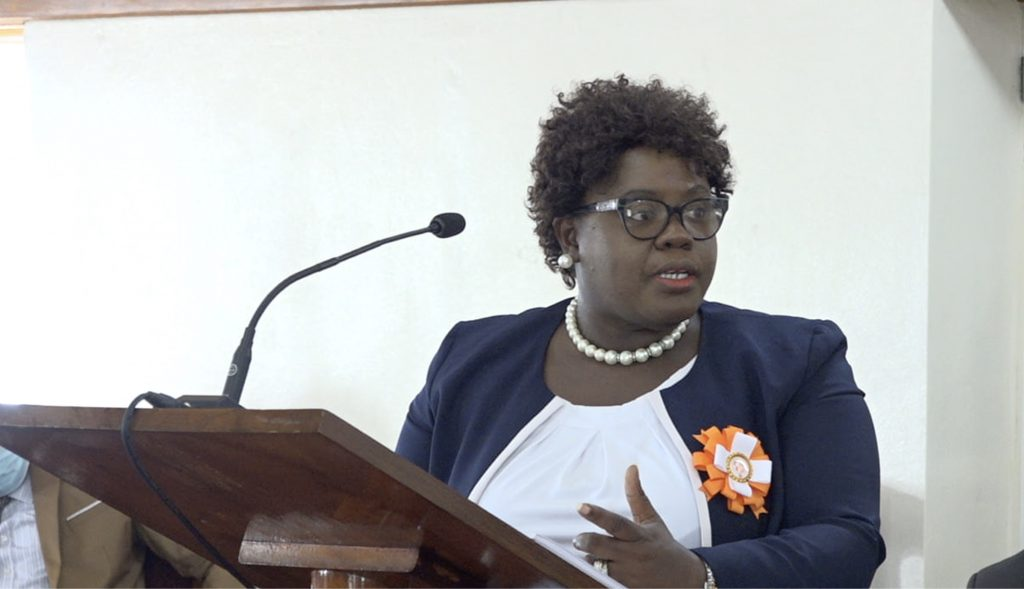 Hon. Hazel Brandy-Williams, Junior Minister of Health in the Nevis Island Administration delivering her presentation during the Budget Debate in the Nevis Island Assembly on December 09, 2020