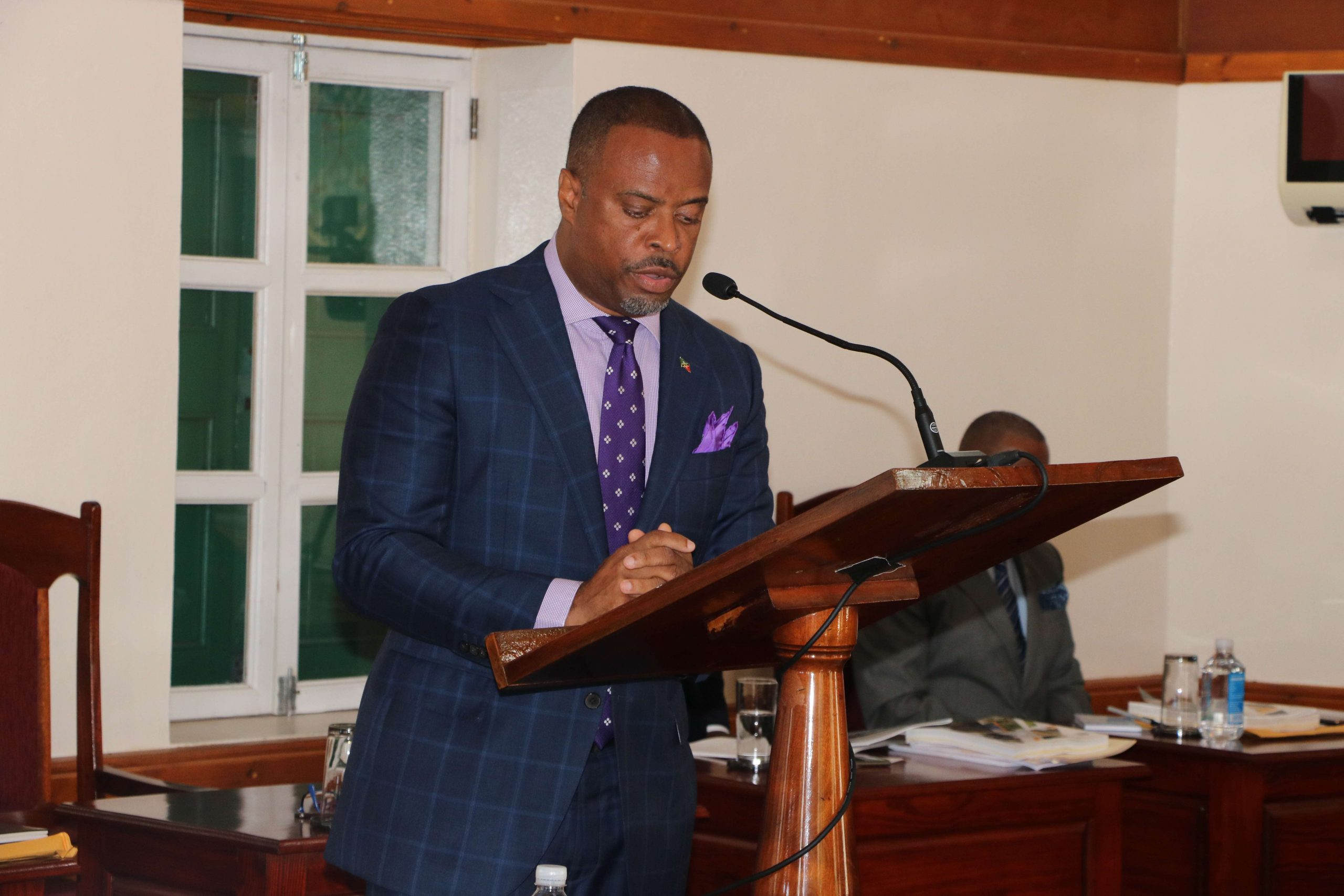 Hon. Mark Brantley, Premier of Nevis and Minister of Finance, delivering the 2021 Budget Address at a recent sitting of the Nevis Island Assembly at Hamilton House