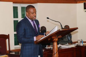Hon. Mark Brantley, Premier of Nevis and Minister of Finance in the Nevis Island Administration delivering the 2021 Budget Address in Chambers at Hamilton House at a sitting of the Nevis Island Assembly on December 08, 2020