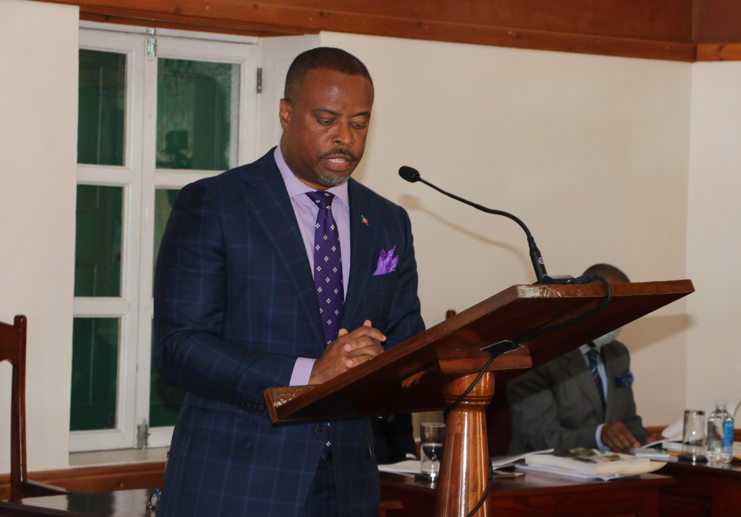 Hon. Mark Brantley, Premier of Nevis and Minister of Finance in the Nevis Island Administration delivering the 2021 Budget Address in the Nevis Island Assembly on December 08, 2020